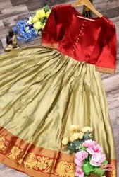 Party Wear Zari work Silk Saree, With blouse piece, 5.5 m (separate blouse piece)