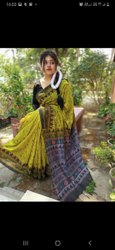 Pal sarees 6.3 m (with blouse piece) Block Paint Handloom Saree
