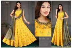 Silk Yellow Ladies Party Wear Readymade Suit, Dry clean
