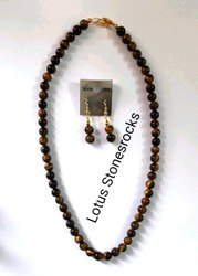 Tiger Eye Necklace Earrings Set
