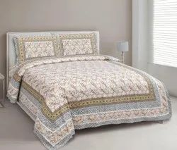 Bagru Print Cotton King Size Bedsheet With Pillow Cover