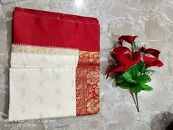 Party Wear Semi Gorod Silk Sarees, Dry clean, With Blouse Piece