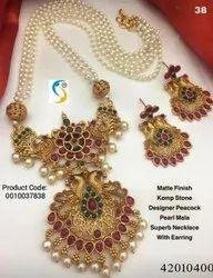 Maheshwari Point Matte Finish Antique Designer Necklace Set, Box