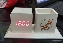 Wooden Table Clock Pen Stand Organizer