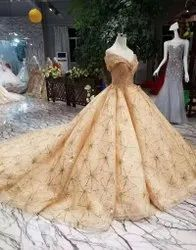 Embroidered Net Golden Party Dress
