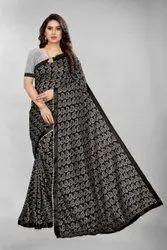 Traditional Black Silver Nylon Jekard Net saree, 6.3 m (with blouse piece)