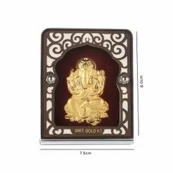 Gold Plated Ganesh With Red Velvet Stand
