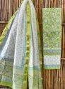 Bagru Hand Block Print Chanderi Silk Dress Material With Maheshwari Silk Dupatta
