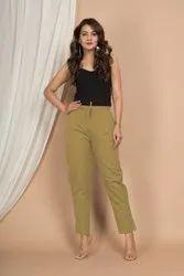 Straight Casual Plain Cotton Pants
