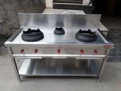 3 Stainless Steel Hottie Three Burner Chinese Cooking Range