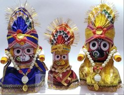 Multicolor Carving Lord Jagannath Balabhadra And Subhadra Set, For Home, Size: 6