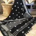 Cotton Linen With Exclusive Bagru Hand Print Natural Dye Finishing Saree
