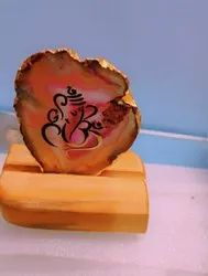 Natural Agate Stone Ganesh With Wooden Stand