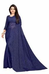 Border Traditional Ladies Fancy Net Saree, Size: Free, 6.3 m (with blouse piece)