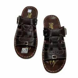 Brown Men's Pu Slippers