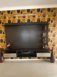 AVN Brown Wall Hanging Tv Cabinet, For Home