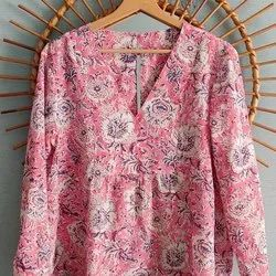 Red Hand Block Printed Cotton Women Top Tunic