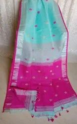 Party wear Stylish Linen Saree, Without blouse piece, 6.3 m (with blouse piece)