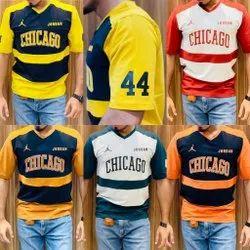 V-neck Printed Men's Quarter Sleeve Cotton Lycra T Shirts, Size: M L Xl Xxl