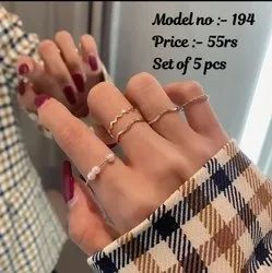 silver,gold Artificial Jewelry Finger Ring Set