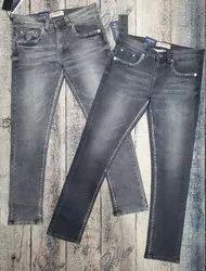 Slim Fit Casual Wear Grey Denim Jeans