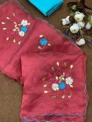 Khatli Work Plain Designer Organza Silk Saree With Handwork., Size: Free, 5.5 M (separate Blouse Piece)