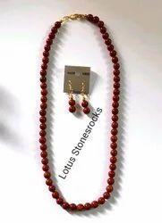 Red Jasper Necklace Earrings Set