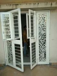 White Galvanized iron Laser cutting French Door with windows, For Home