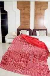 Red Color Hand Block Kantha Bedspread