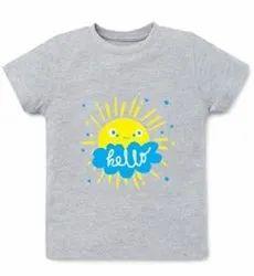 Lycra Cotton Grey Kids T Shirt