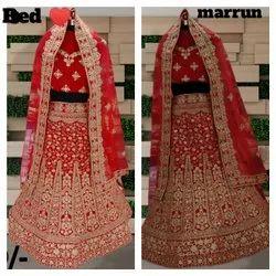 Red,Maroon Semi Stitched Digner Wedding Wear Lahenga Choli, 2.5 Mts