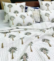 palm Tree Printed Handmade Kantha Bedroom Set Kantha Quilt