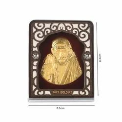 Gold plating sai baba with red velvet stand