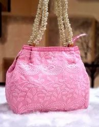 QTC Pink Ladies Lucknowi Embroidered Indian Handmade Designer Bags