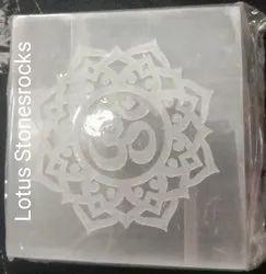 Selenite Crystal Om Engraved  Plates