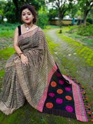 Casual Wear Plain Semi Cotton Saree, With Blouse, 6 m