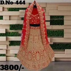 Red Unstitched Digner Stylish Wedding Lahenga Choli