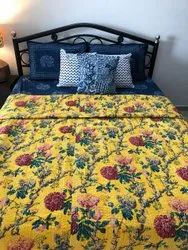 Screen Printed Kantha Bed Cover