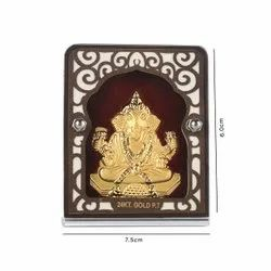 Gold Plating Ganesh With Red Velvet Stand