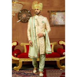 Golden Wedding Wear Sharwani For Men