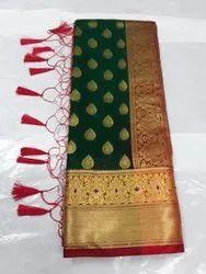 Vk brand Banarsi silk Banarasi Cotton Saree, With Blouse, 6 m
