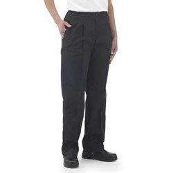 Polycotton Back Side Elastic Black Trousers