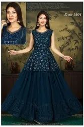 Women Embroidered Party wear gown, Size: L