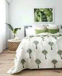 Hand Block Palm Tree Bedroom Decor Bed Cover With Pillow