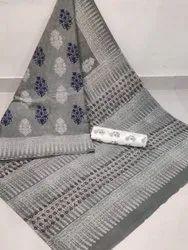 New Latest Attractive Beautiful Designer Collection Bagru Hand Block Print Cotton Mulmul Saree
