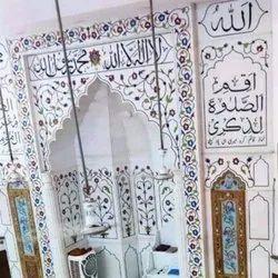 White Carved Marble Stone Masjid Qibla Work, Polished