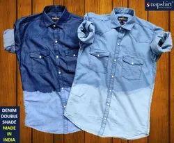Plain Collar Neck Mens Blue Denim Shirt
