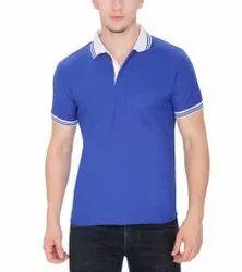 Plain Cotton Matty Collar T-Shirt, For Garments