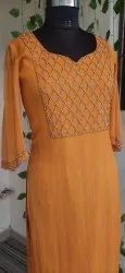Party Wear Yellow Designer Pure Georgette Hand Work Embroidered Salwar Suit, Size: Large