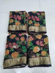 Floral Print Chiffon Saree With Border Buti Blouse